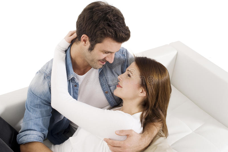 Couple on the couch stock images