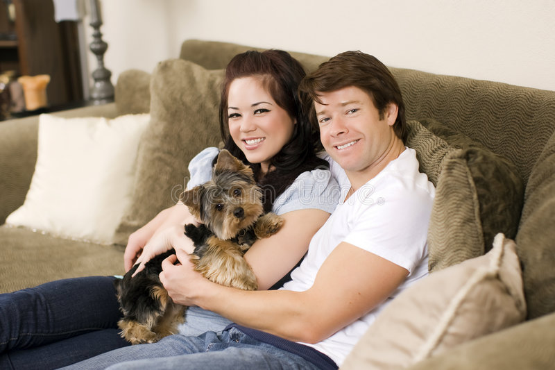Download Couple on couch stock photo. Image of attitude, happiness - 9080392