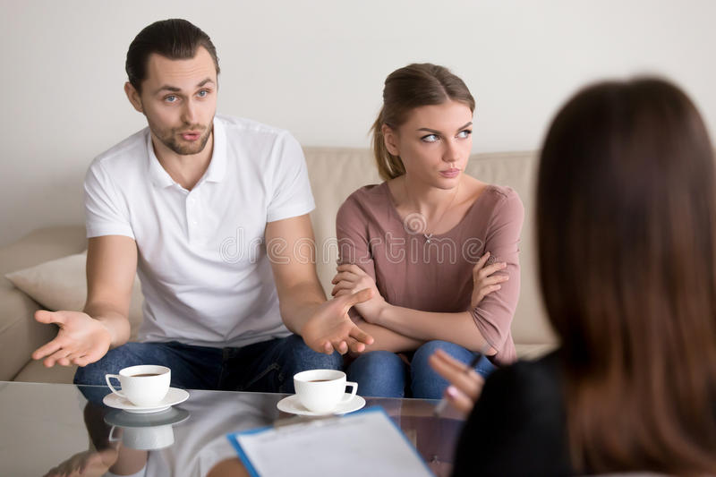 Couple counseling family psychologist, man talking to psychother stock photography