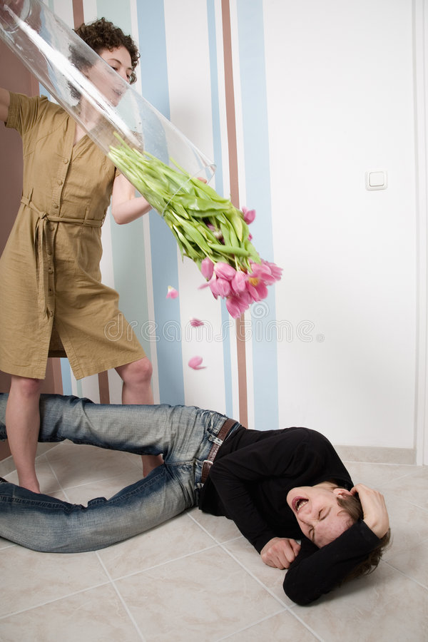 Couple crisis. Relationship difficulties: young couple having a fight royalty free stock image