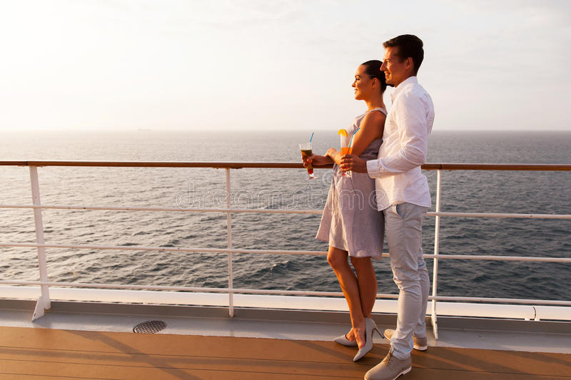 Couple cruise ship royalty free stock photo