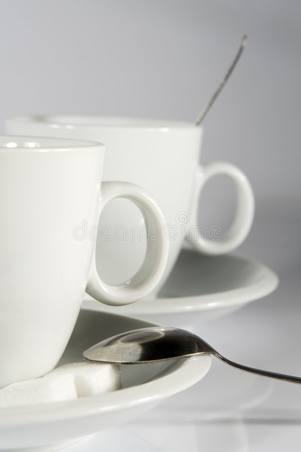Couple Cup of Tea. Detail of cup of tea on gray background royalty free stock image