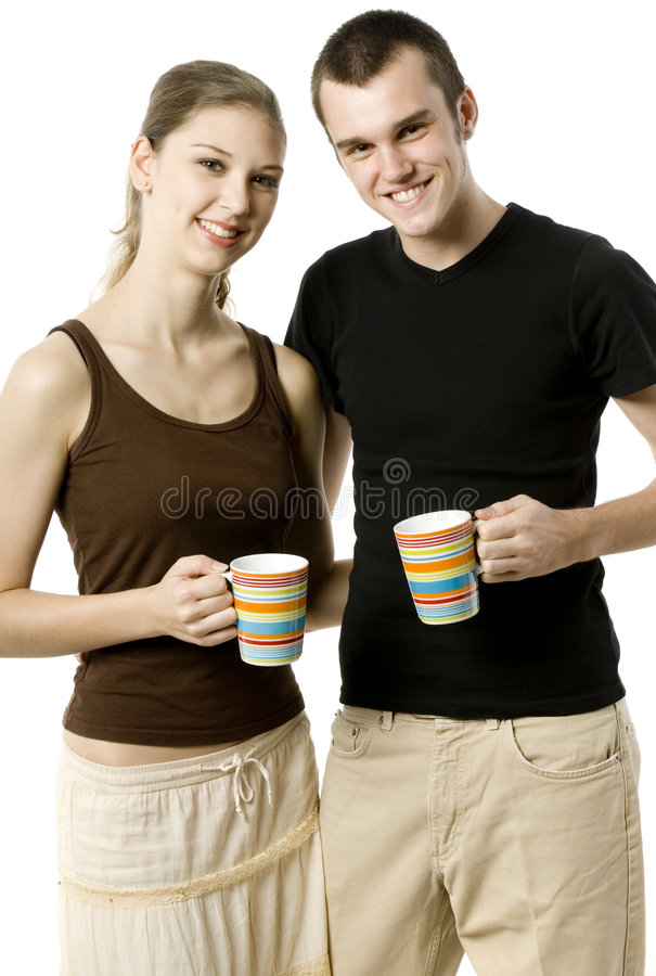 Couple With Cups royalty free stock images