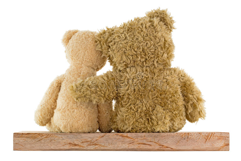 Couple of cute brown bears sitting on wood hugging each other is stock image