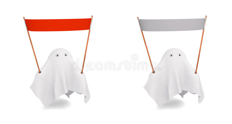 Download A Couple Of Cute Ghost With An Different Banner Stock Illustration - Illustration of flying, ghost: 32483638
