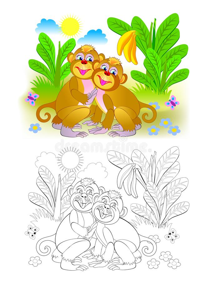 Couple of cute monkeys in the jungle. Colorful and black and white page for coloring book for kids. royalty free illustration
