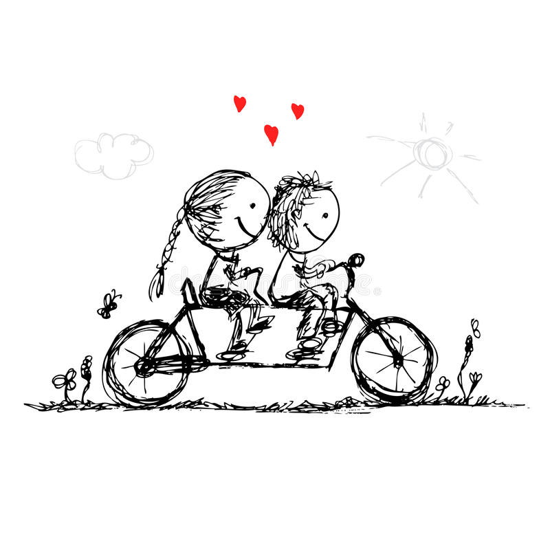 Couple cycling together, valentine sketch for your stock illustration