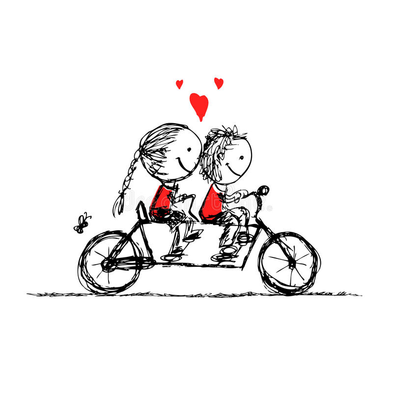 Couple cycling together, valentine sketch for your vector illustration