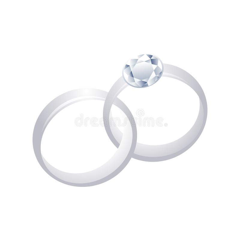 Couple 3D Silver Rings with Diamond Graphic Design vector illustration