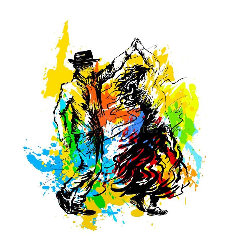 Couple of dancers, dancing salsa nightclub country dance stock illustration