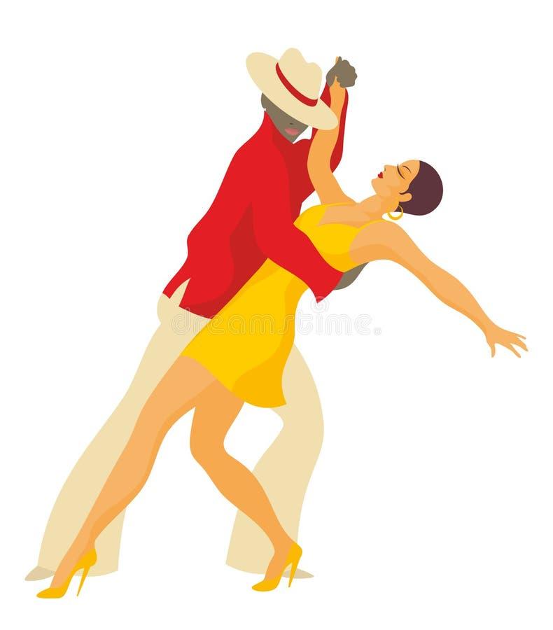 Couple dances a salsa. Lady and gentleman dance Latin America salsa stock illustration