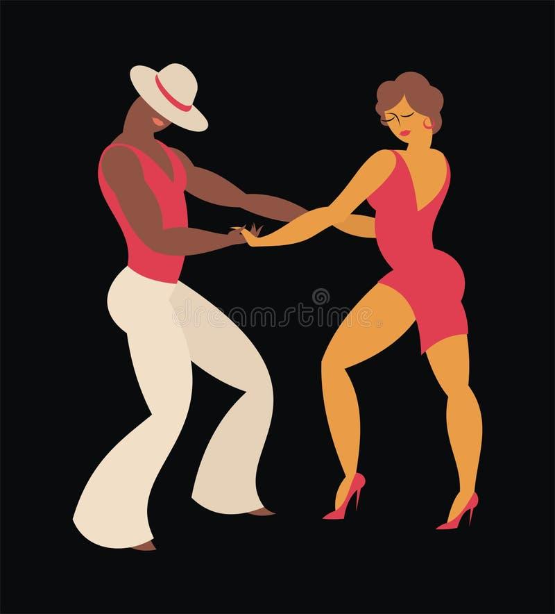 Couple dances a salsa vector illustration