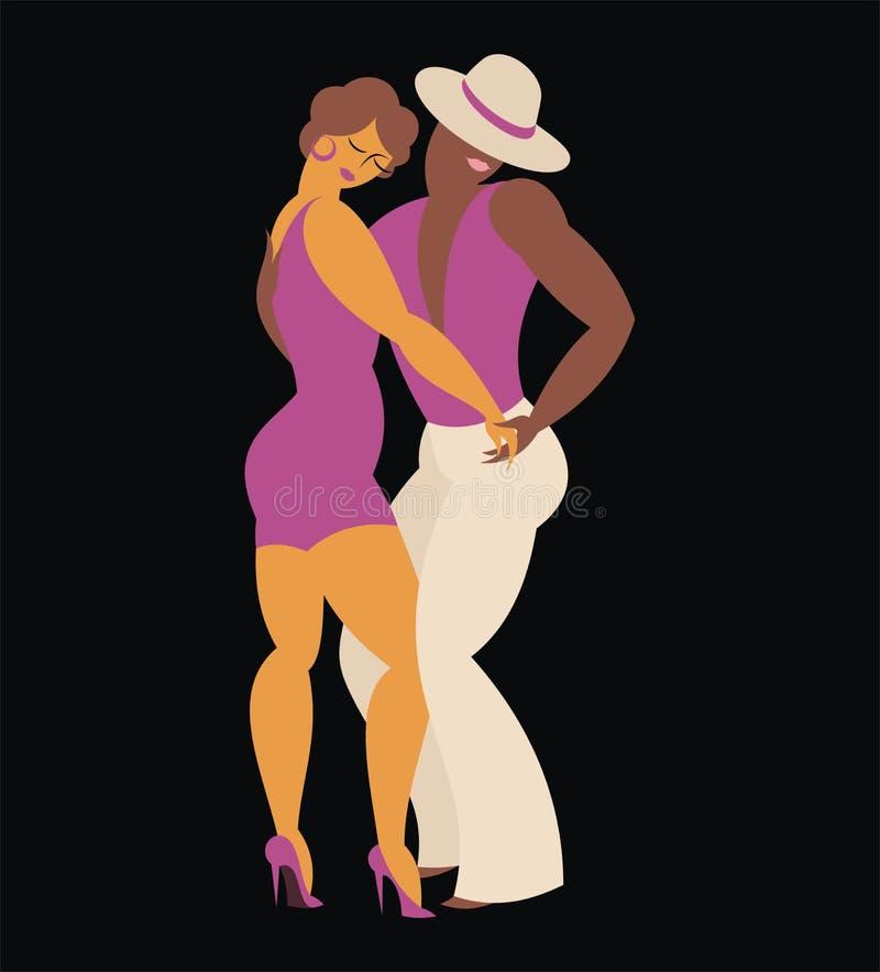 Couple dances a salsa. Lady and gentleman dance Latin America dance salsa stock illustration