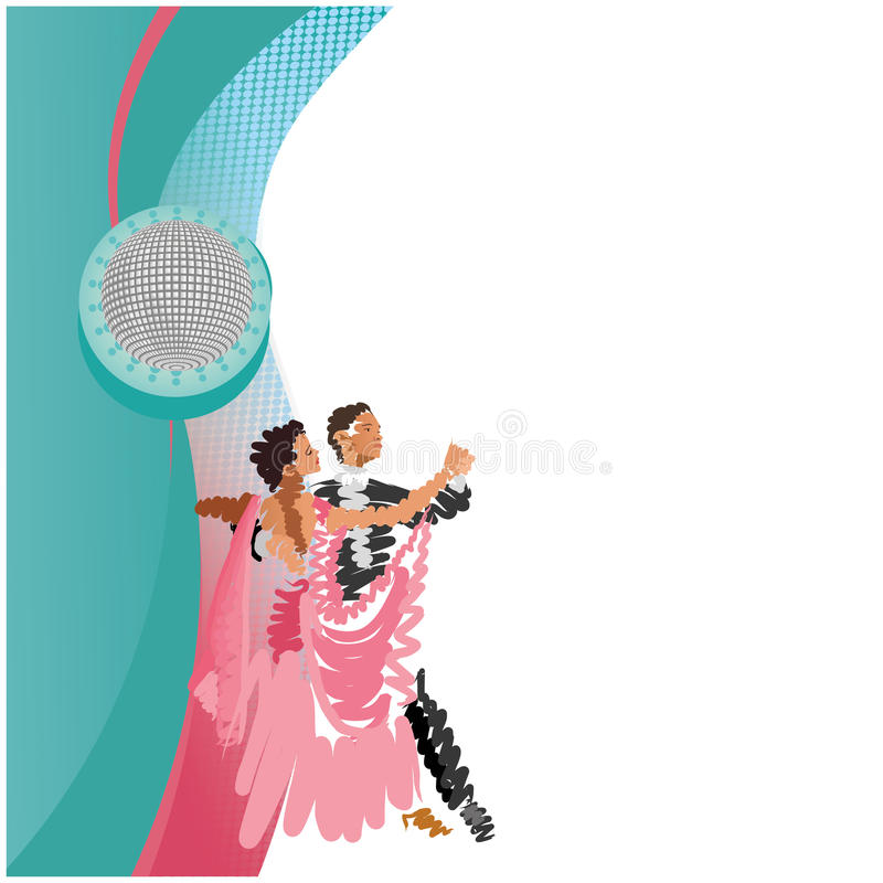 Couple that dances a waltz. A glowing ball and a couple that dances a waltz royalty free illustration
