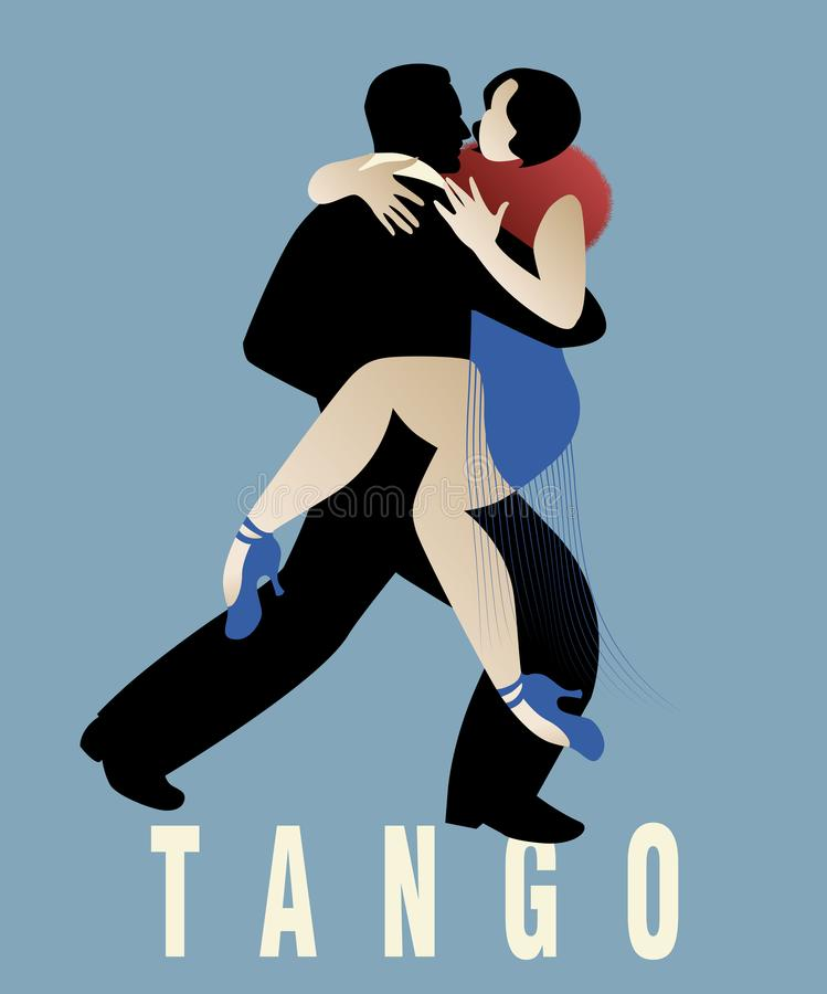 Couple dancing argentinian tango. Vector Illustration vector illustration