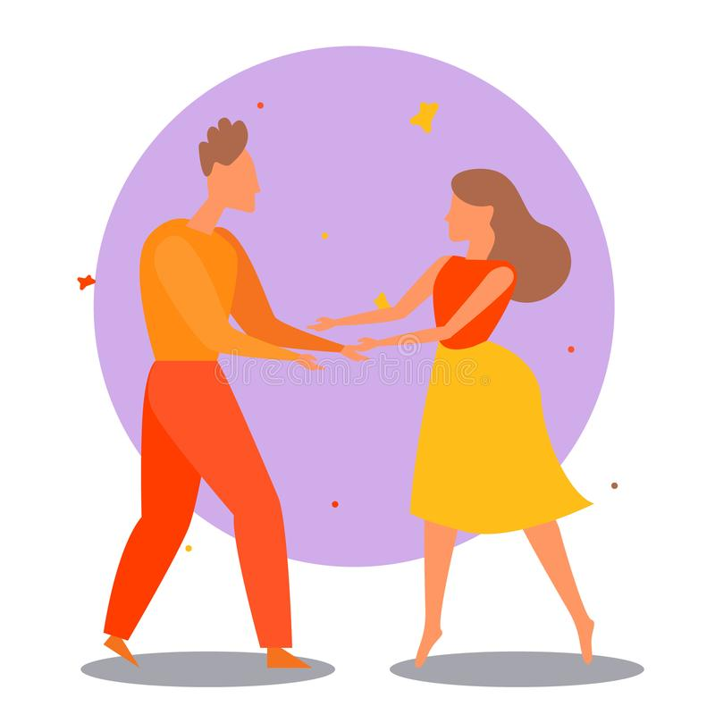 Couple dancing. Dance party concept. Cartoon vector illustration royalty free illustration