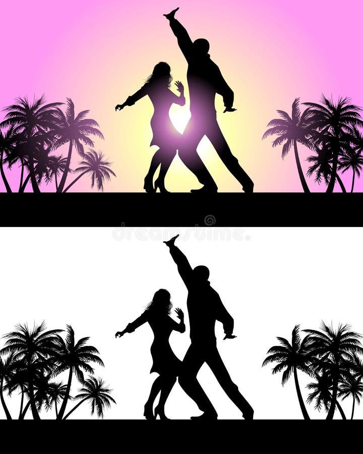 Couple dancing latin dances stock illustration