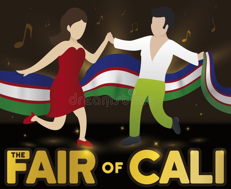 Couple Dancing Salsa with Flag in the Cali Fair Event, Vector Illustration stock illustration