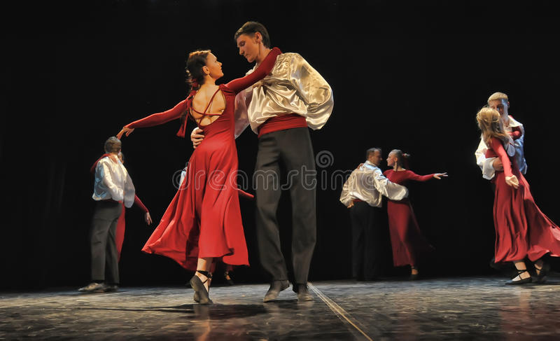 Couple dancing on the stage royalty free stock photos