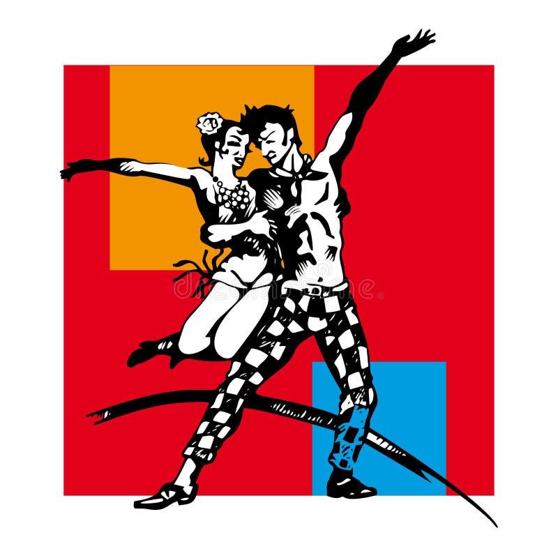 Couple dancing swing vector illustration
