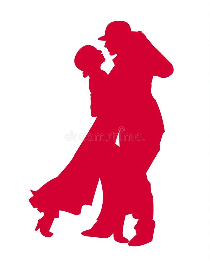 Couple dancing tango silhouette stock illustration
