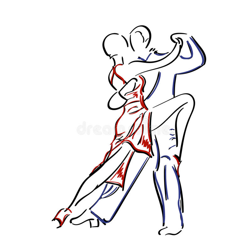 Couple dancing tango. stock illustration
