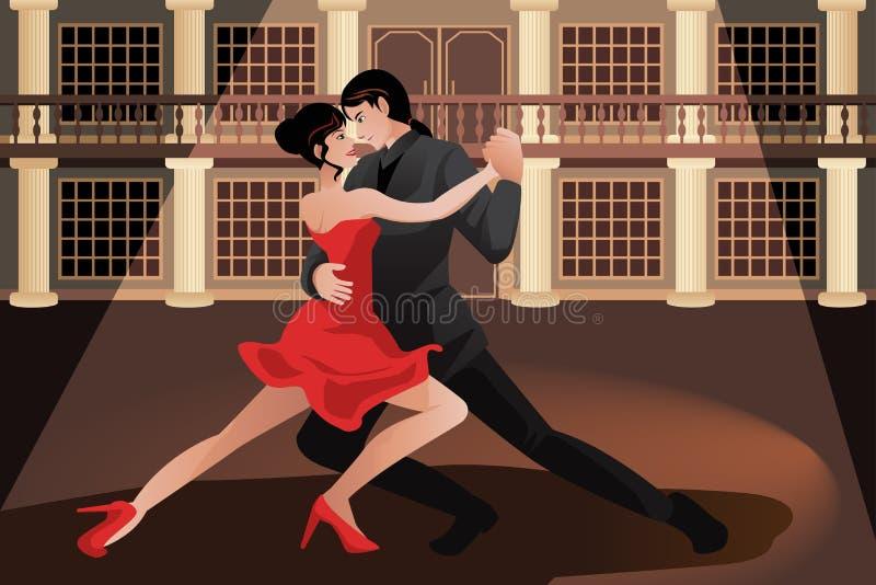 Couple dancing tango royalty free illustration