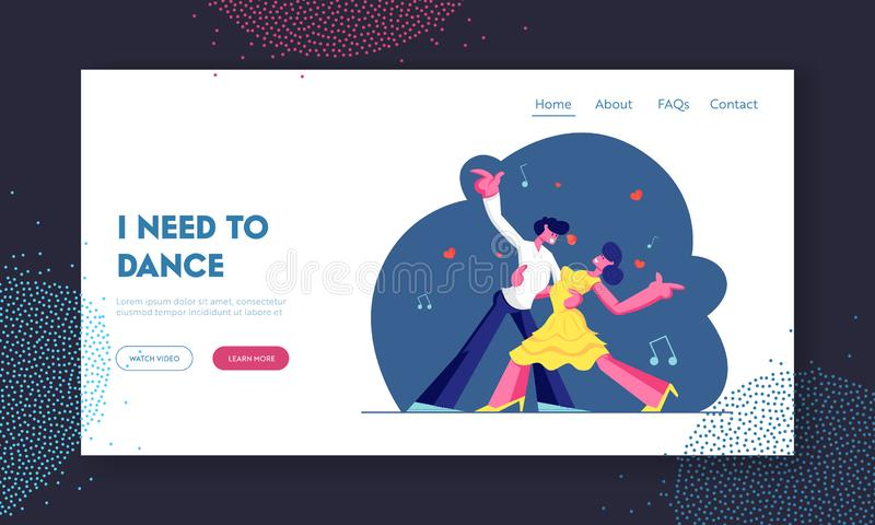 Couple Dancing Tango Website Landing Page, Man and Woman in Loving or Friendly Relations Spend Time Together, Disco Dance royalty free illustration