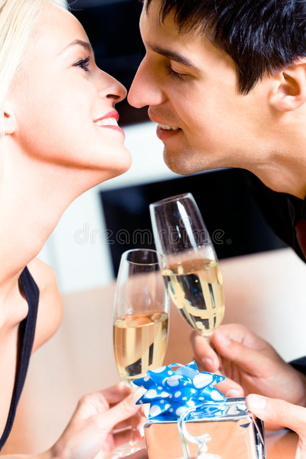 Couple on date stock photo