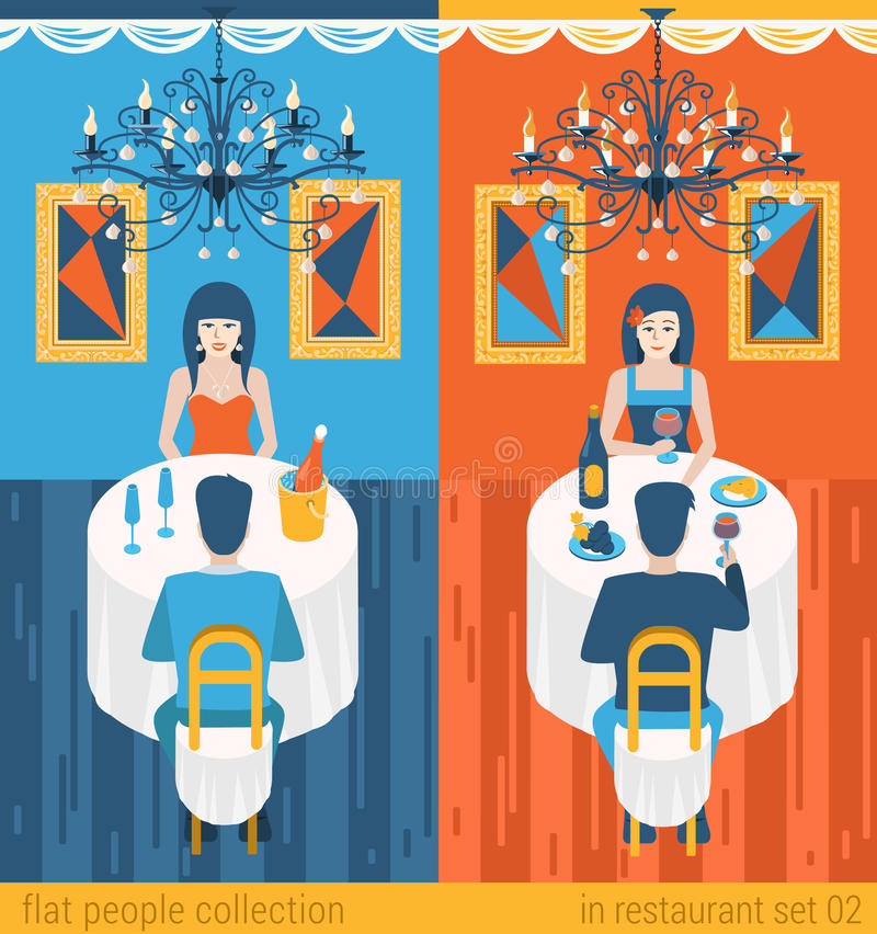 Couple date in restaurant drinking champagne in flat vector royalty free illustration