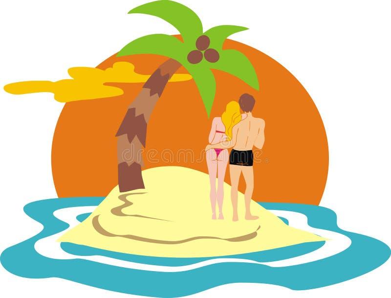 Couple on desert island royalty free illustration