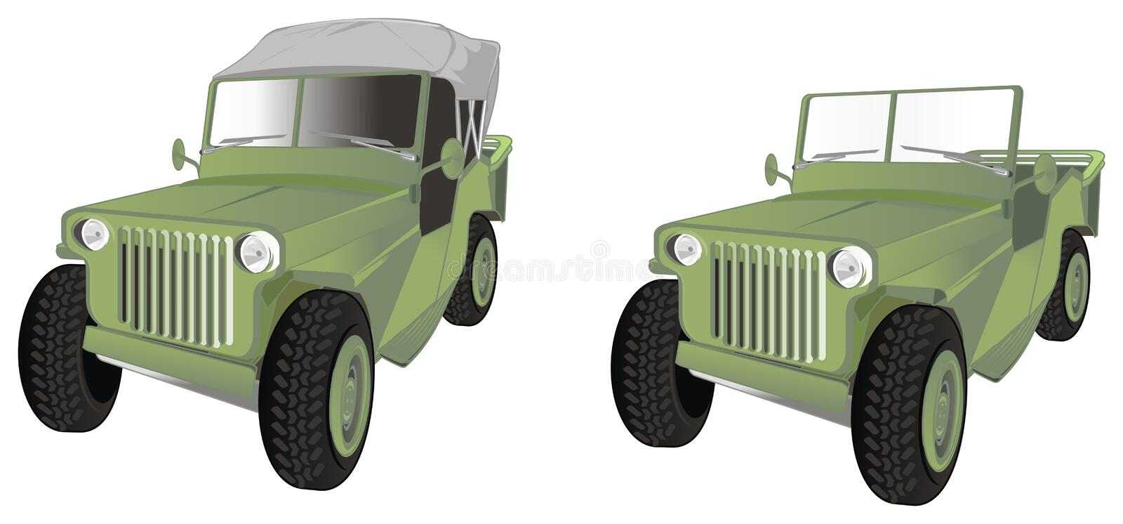 Two army cars stock illustration