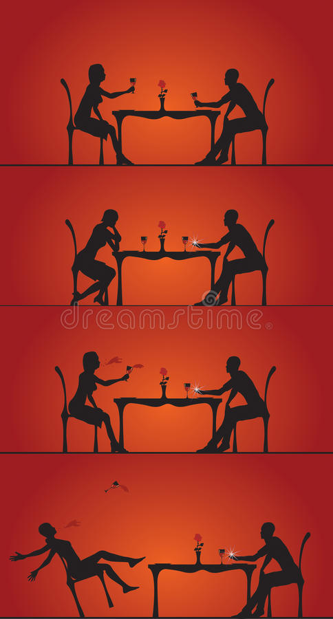 Couple dining silhouettes royalty free stock photo