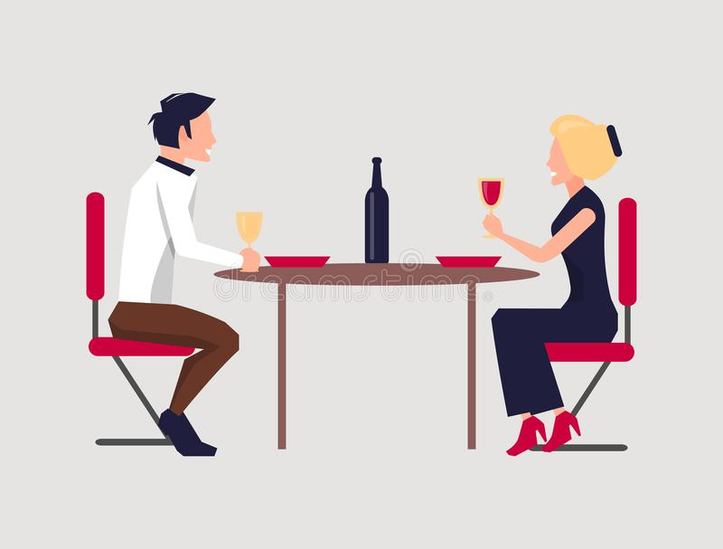 Couple Dining Together on Vector Illustration. Couple dining together, drinking red and white wine, with table, chair and bottle, on vector illustration isolated stock illustration