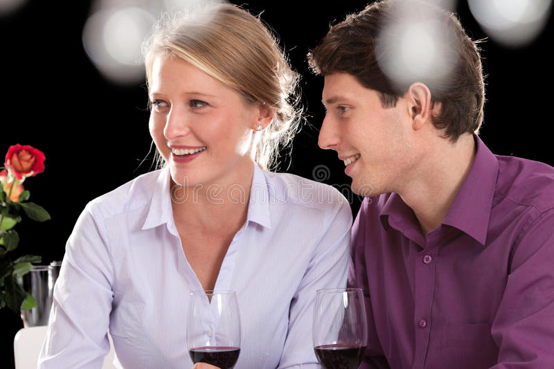 Couple on dinner after work royalty free stock photography