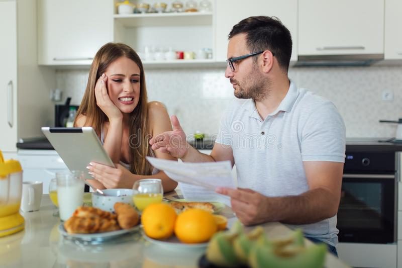 Couple discussing about home budget royalty free stock photo