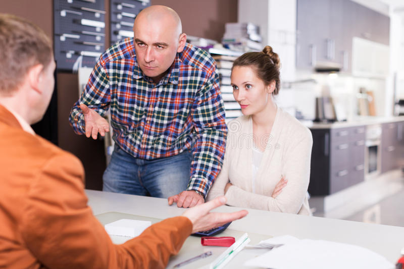 Couple is dissatisfied with the quality stock photo