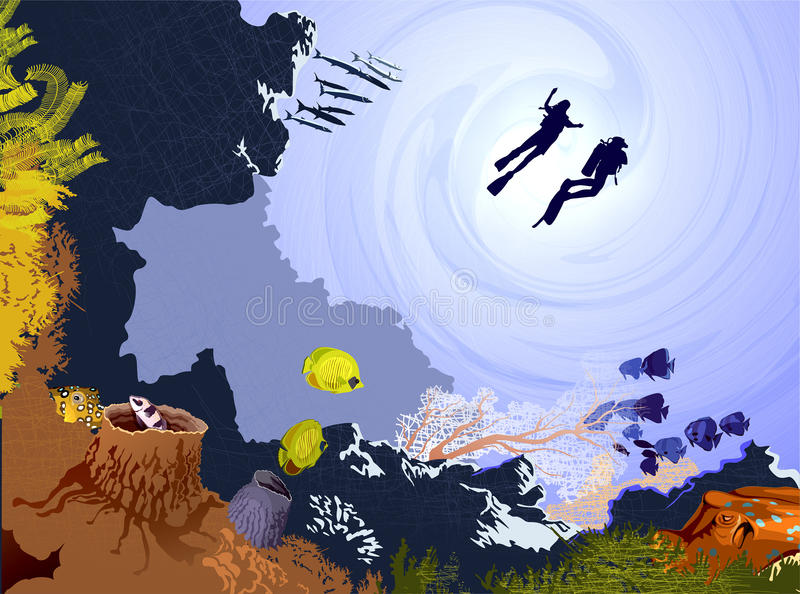 Couple Diving In The Deep Waters. Illustration Of A Couple Diving In The Deep Waters stock illustration