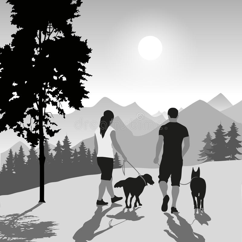 Couple with dogs royalty free illustration