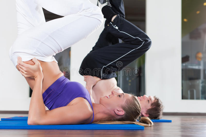 Download Couple Is Doing Gymnastics In Gym Stock Image - Image: 22336557