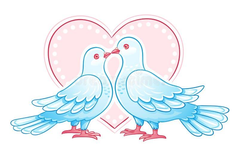 Couple of doves kissing. EPS10 vector illustration