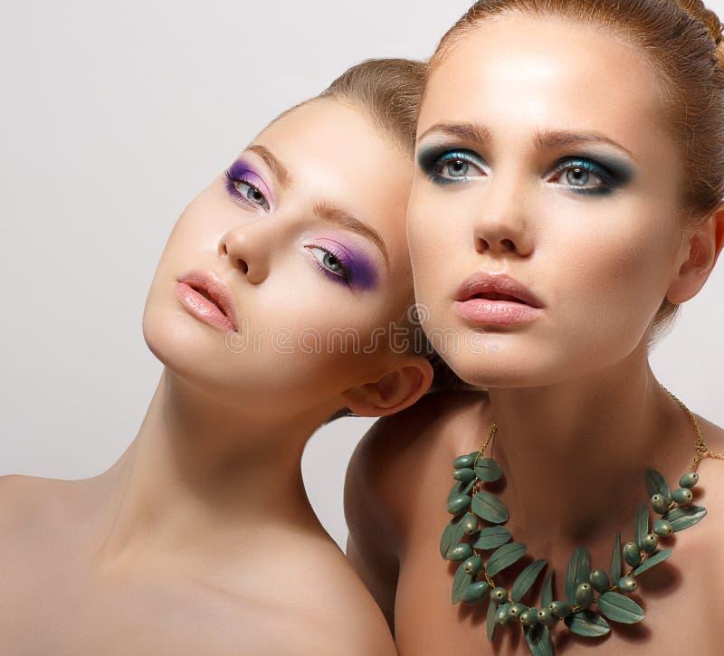 Portrait of Two Dreaming Seductive Women. Couple Dreaming Seductive Women. Glamour stock images