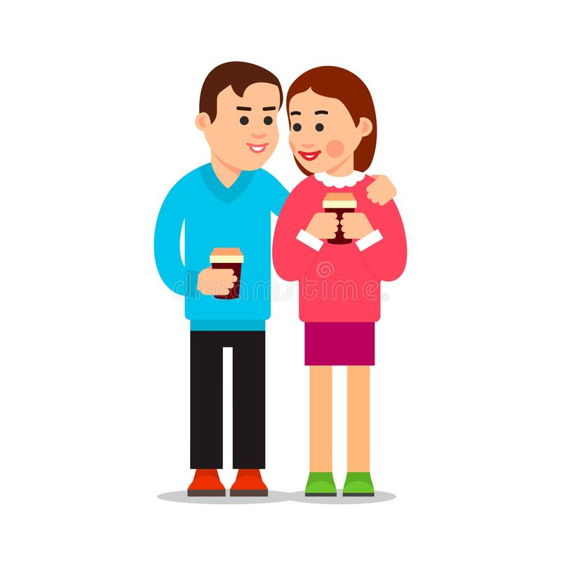 Couple drinking coffee. Young boy and girl met and spoken. Friendly meeting. Attractive woman smiling boyfriend. Friends talking royalty free illustration