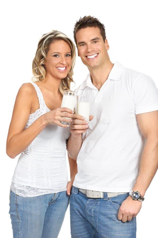 Couple  Drinking Milk Royalty Free Stock Photo