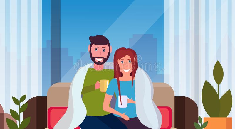 Couple drinking tea man woman sitting on couch under cozy plaid happy lovers relaxing modern apartment interior. Cityscape male female characters portrait vector illustration
