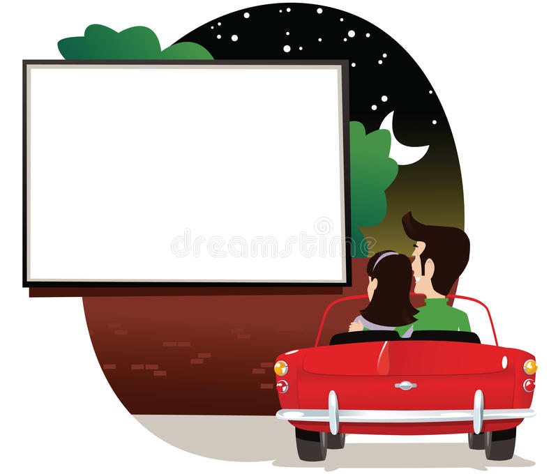 Couple at drive in cinema royalty free illustration