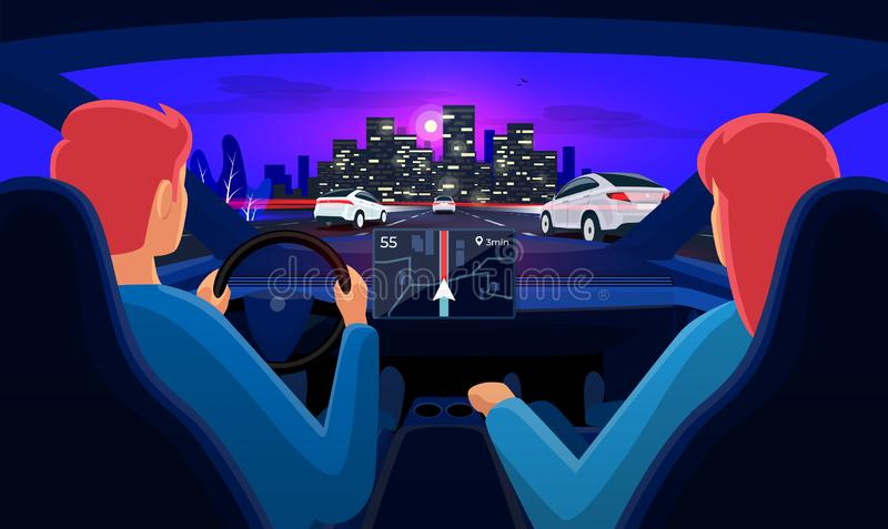 Couple inside car interior on road trip highway traffic jam with night city skyline. Couple driving electric car on highway traffic jam to city. Man driver woman royalty free illustration