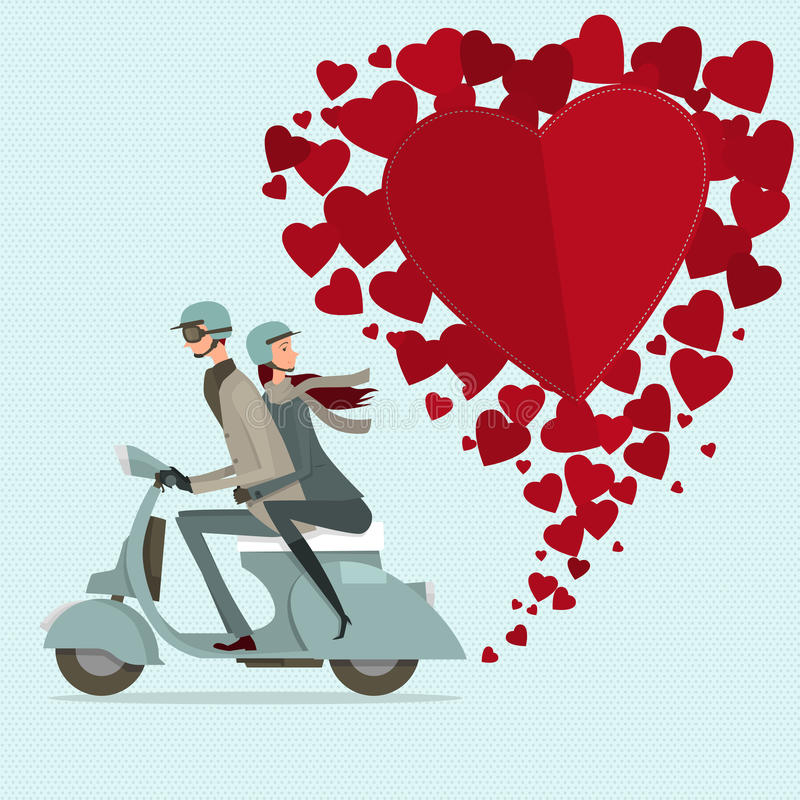 Couple driving scooter sweetheart. Modern design flat icon for journey. isolated on white background. graphic vector illustration. people concept royalty free illustration