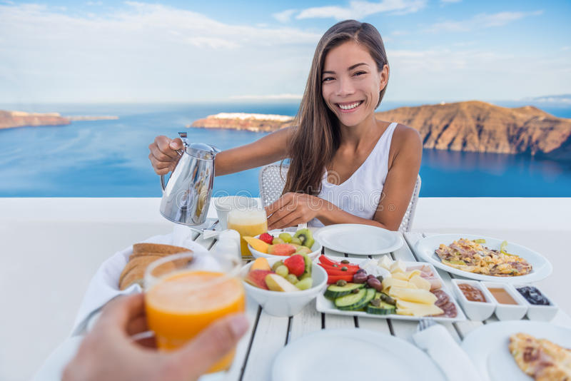 Couple Eating Breakfast On Terrace Resort Travel stock images