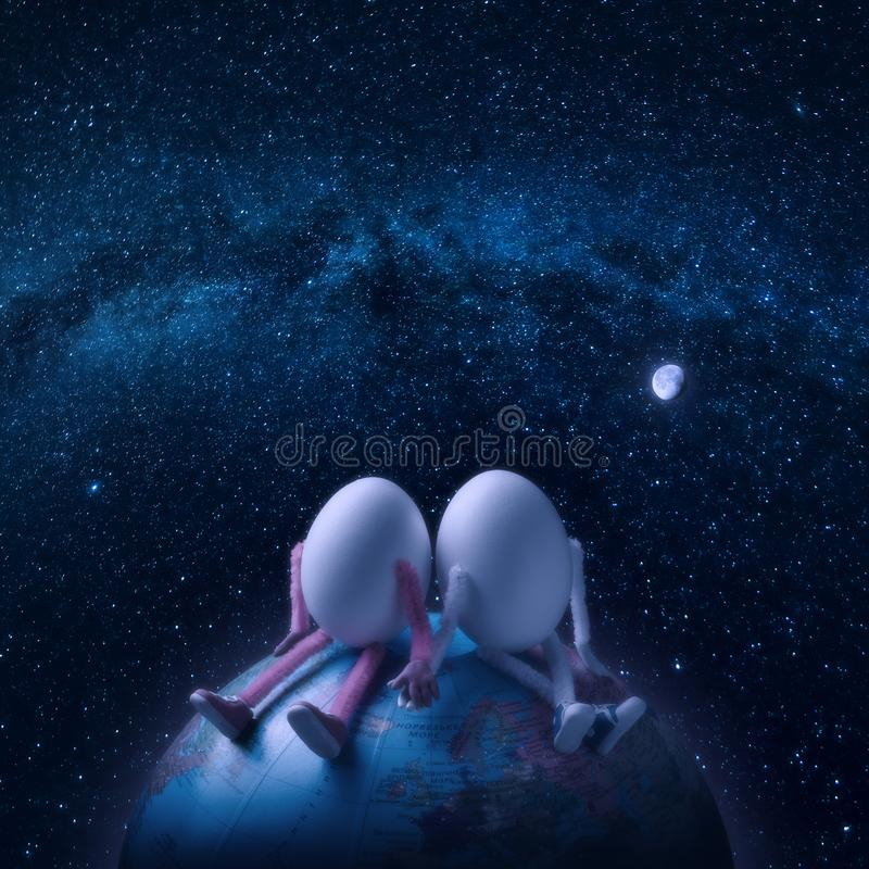 Couple of eggs in outer space. Couple of egg humans sitting on a Earth planet in outer space under the starry sky royalty free stock photography